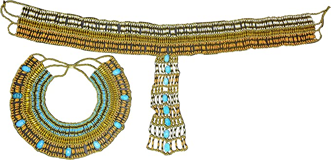 Egyptian Pharaoh Accessory Multi Beaded Cleopatra  Scarab Necklace Collar    234