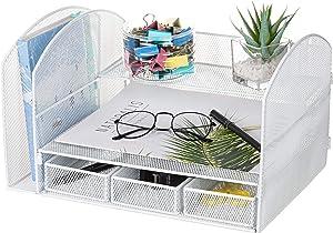 VANRA Metal Mesh Desktop File Organizer File Sorter Desk File Tray Organize Office School Supply Holder Stuff Storage Organizer with 3 Little Drawers (White)