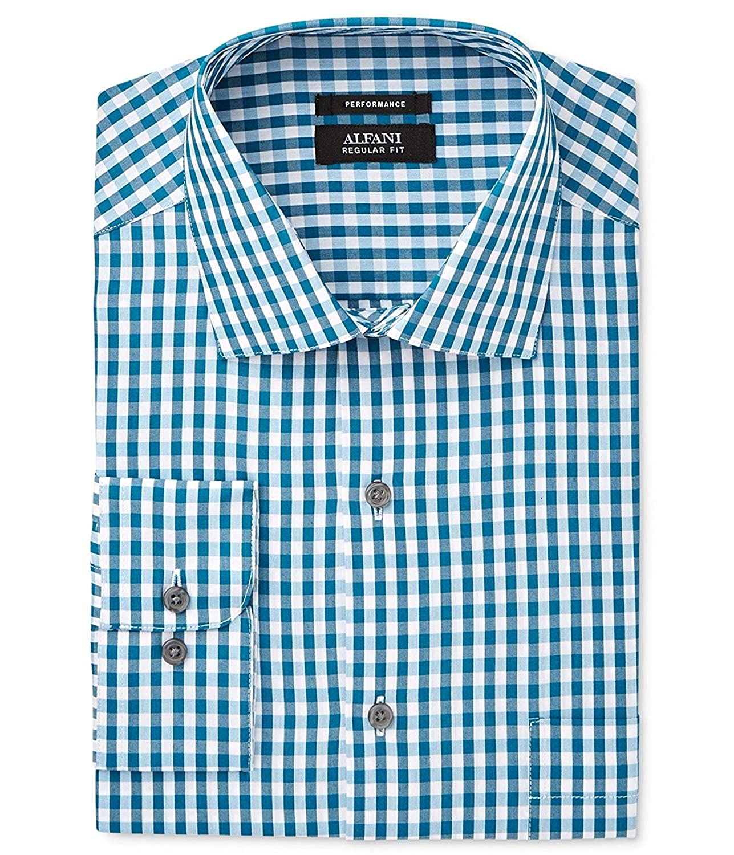 Alfani Mens Poplin Check Print Dress Shirt
