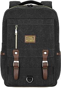 Canvas Laptop Backpack, Vintage Canvas Rucksack, Anti-Theft Backpack Fits 15.6 Inch Laptop (Black)