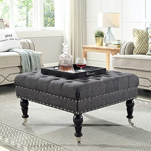 24KF Large Square Coffee Table Upholstered Tufted Button Linen Large Square Ottoman