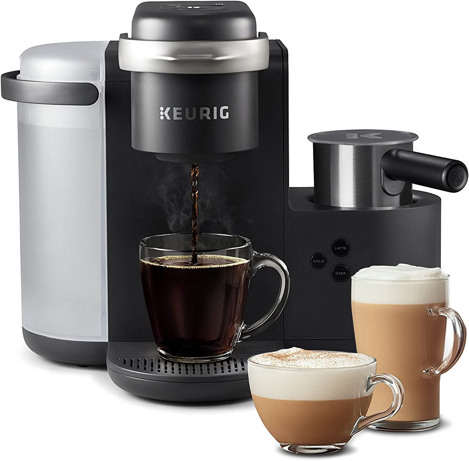 Keurig K-Café Coffee Maker, Single Serve K-Cup Pod Coffee, Latte and Cappuccino Maker,With Dishwasher Safe Milk Frother, Coffee Shot Capability, Compatible With all K-Cup Pods, Charcoal (Renewed)