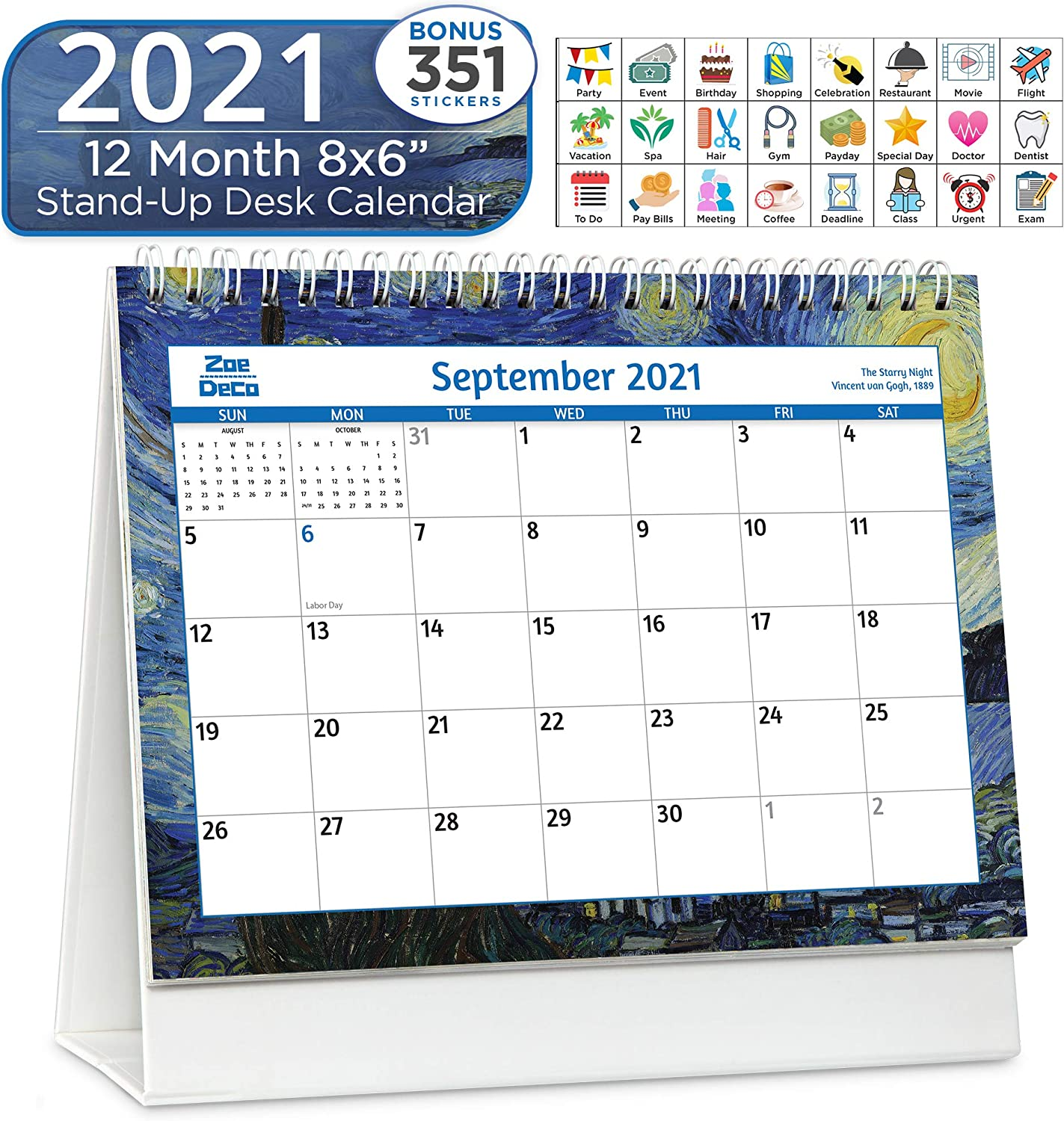Zoe Deco 8x6 Inch Standing Desk Calendar + Stickers, 2021 Calendar Year Monthly Tent Style Flip Calendar, Impressionists