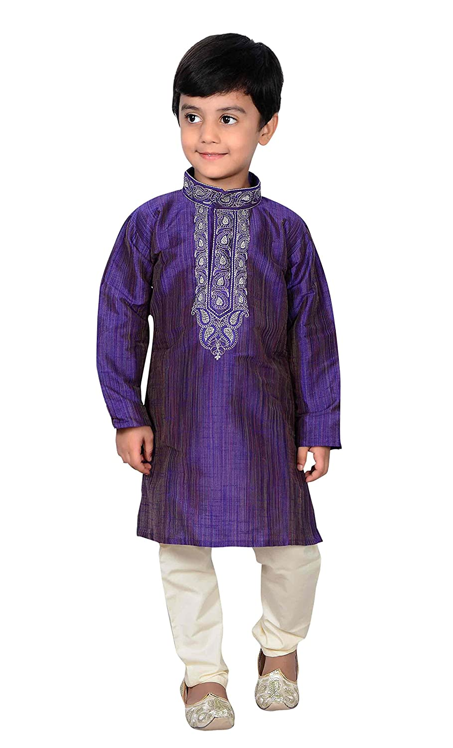 Indian Boys Sherwani Kurta with Churidar pajama for Bollywood theme party 857 Blue Kurta Set - 857
