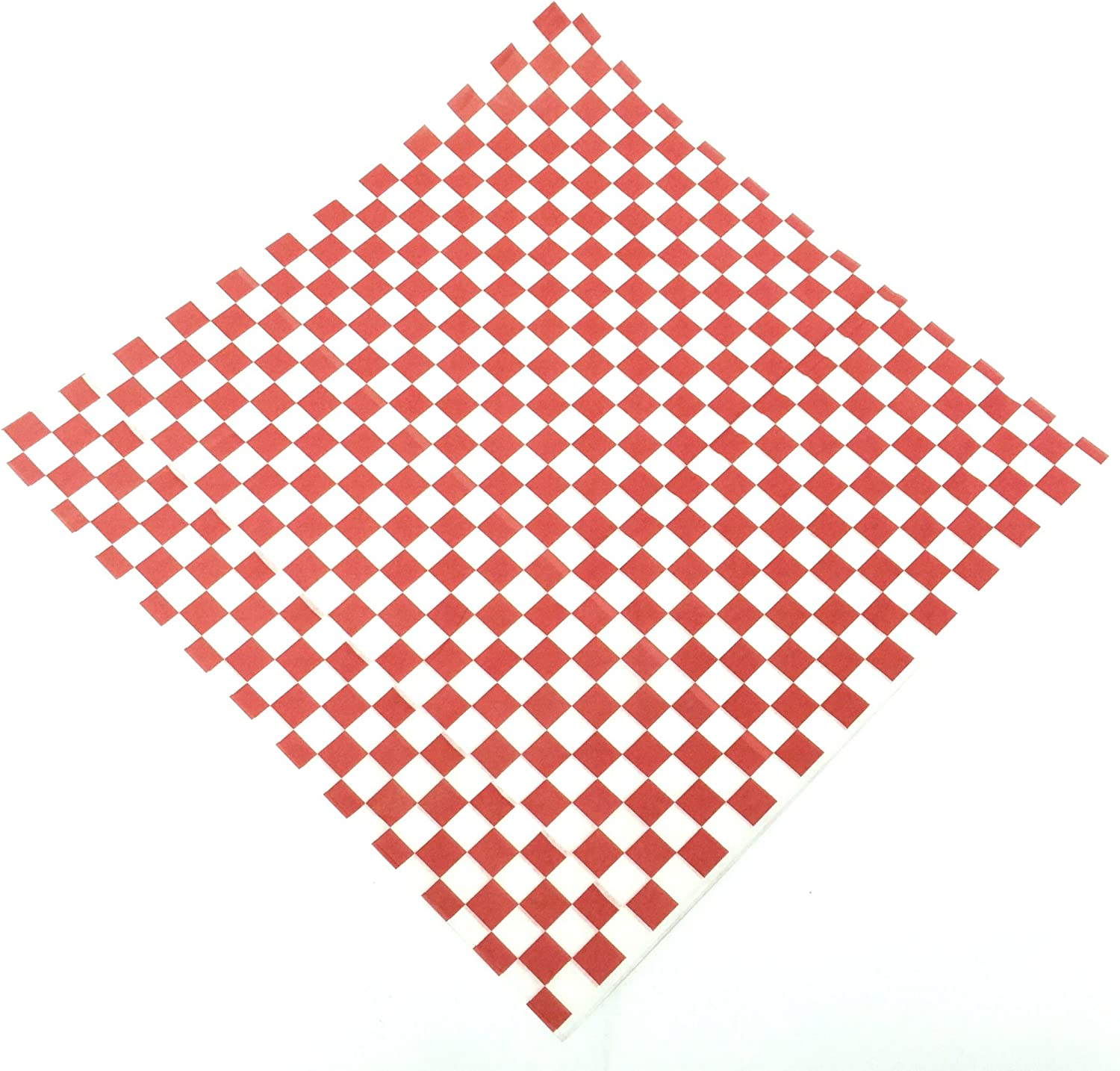 100 Sheets 12 X12 Red and White Checkered Food Picnic Basket Hamburger Paper Liners & Wrapping Tissue