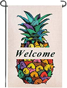 SUMILUOCHEN Welcome Color Pineapple Burlap Garden Flag, Double Sided Vertical House Flags, Welcome to Our Home Banners Farmhouse Yard Outdoor Decoration 12.5 x 18 Inch