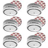 SEBSON 10 Jahres Mini Rauchwarnmelder inkl. Magnethalterung, DIN EN 14604, VdS 3131, Q-zertifiziert, fotoelektrischer Rauchmelder, Lithium Langzeit-Batterie, Stummschaltung (10h/10min), GS522, Ø72 x 32mm, 6er Pack
