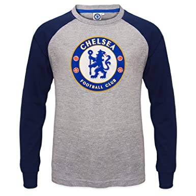 finest selection c1d03 e9928 Chelsea Football Club Official Soccer Gift Kids Crest Long Sleeve Raglan  T-Shirt