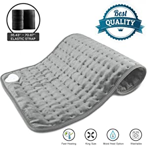 "Heating Pad,24""x12"" Large Soft Electric Heating Pad for Neck Back Abdomen Pain Relief,Dry Moist Heat Therapy Option,6 Heat Settings,4 Timer Settings,1 Elastic Strap,Machine Washable,Auto Shut Off"