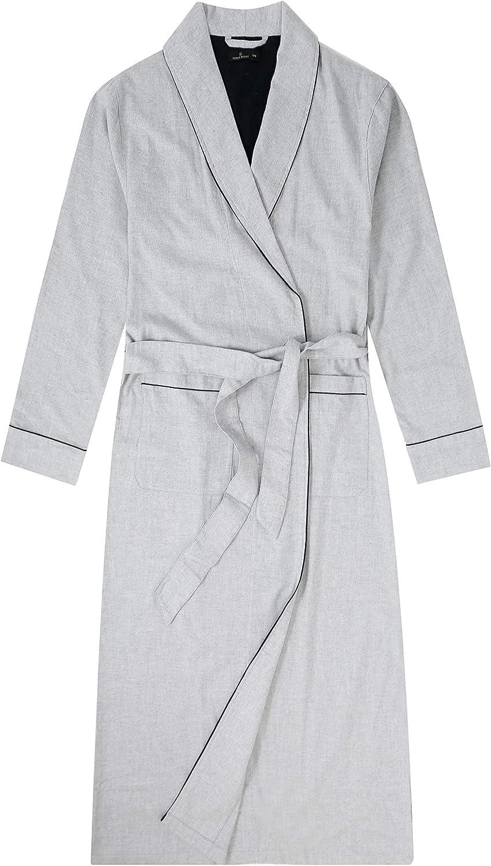 Noble Mount Mens Robe - 100% Cotton Flannel Robe, Full-Length Mens Bathrobe