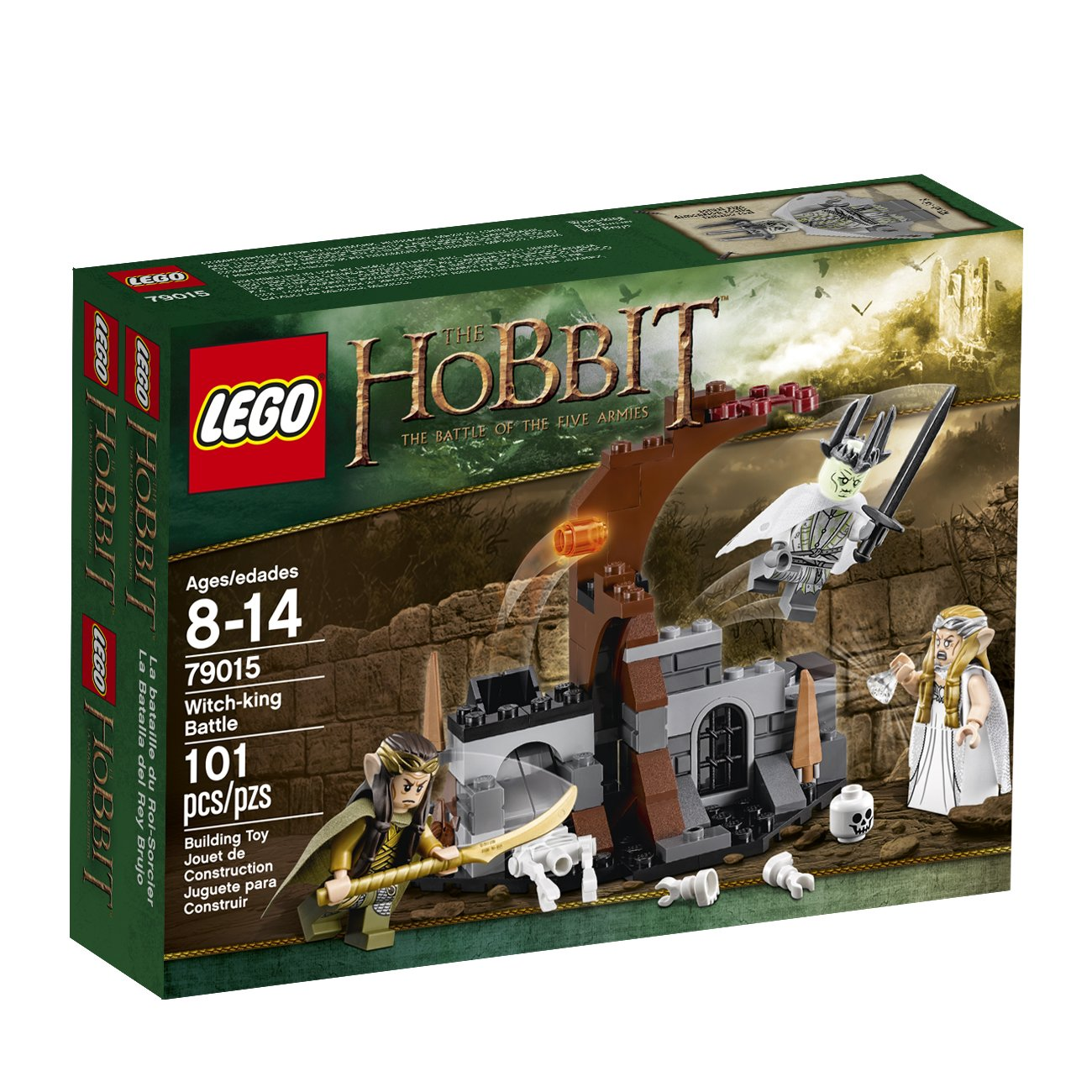 LEGO Hobbit Playset - Witch-king Battle 79015  Includes 3 minifigures with assorted weapons and accessories: Witch-king, Galadriel and Elrond.