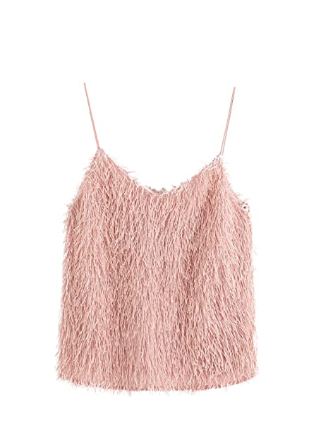 8f9a110e33 Romwe Women's Cute Sexy Fringe Fluffy Fuzzy Cami Top Pink at Amazon ...