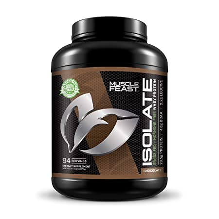 Grass Fed Whey Protein Isolate by Muscle Feast All Natural and Hormone Free 5lb, Chocolate
