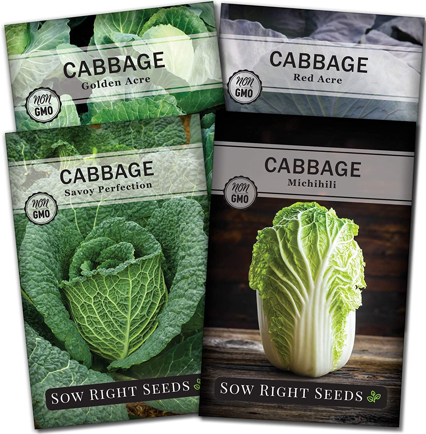 Amazon Com Sow Right Seeds Cabbage Seed Collection For Planting Savoy Perfection Red Acre Golden Acre And Michihili Nampa Cabbages Instruction To Plant And Grow A Non Gmo Heirloom Home Vegetable