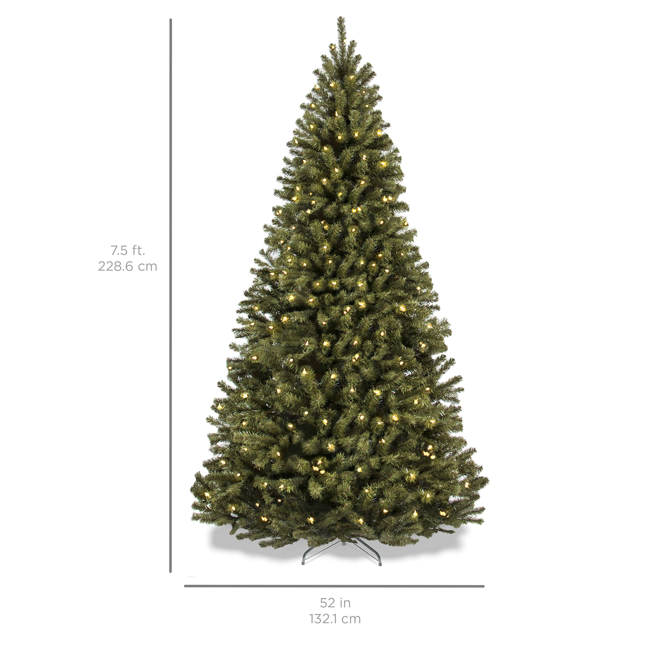 Best Choice Products SKY2888 7.5ft Pre-Lit Spruce Hinged Artificial Christmas Tree w/ 550 UL-Certified LED Lights, Foldable Stand-Green, Medium by Best Choice Products (Image #7)