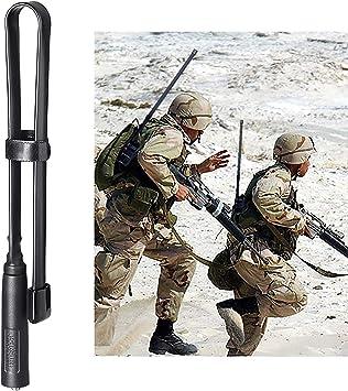 Bingfu Antena Walkie Talkie SMA Hembra Doble Banda VHF UHF 136-520MHz Táctica CS Plegable Suave Antena Radioaficionado Radio Bidireccional 47cm para ...