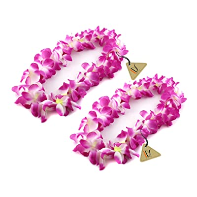 IDS Home Purple Hawaiian Ruffled Simulated Silk Flower Luau Leis Necklace Accessories for Island Beach Theme Party Costumes, 2 Count: Toys & Games
