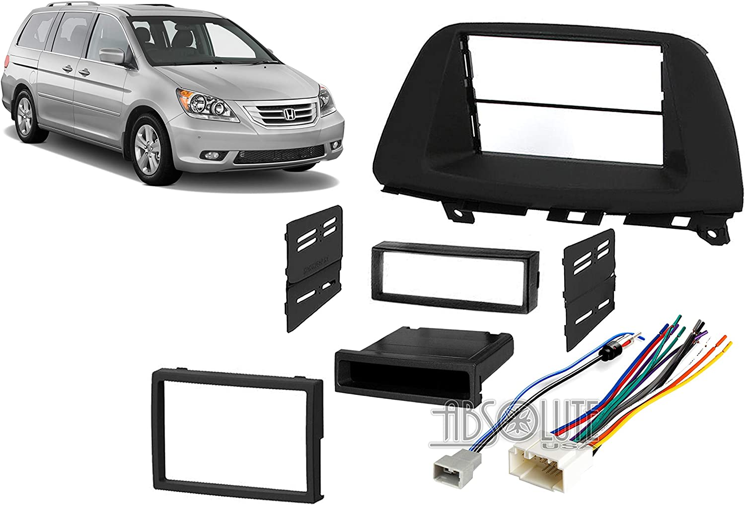 Absolute USA ABS99-7869 Fits Honda Odyssey 2005-2010 Multi DIN Stereo Harness Radio Install Dash Kit Package