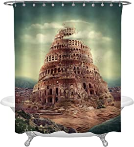 Ashasds Shower Curtain, Fantasy Tower 3D Digital Illustration Fairytale Architecture Brown Curtain Polyester Water Fabric with 12 Hooks,60 x 72 Inches