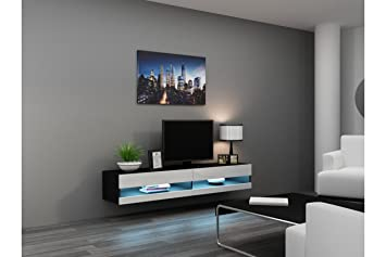 Good Concept Muebles 80 Inch Seattle High Gloss LED TV Stand   White U0026 Black