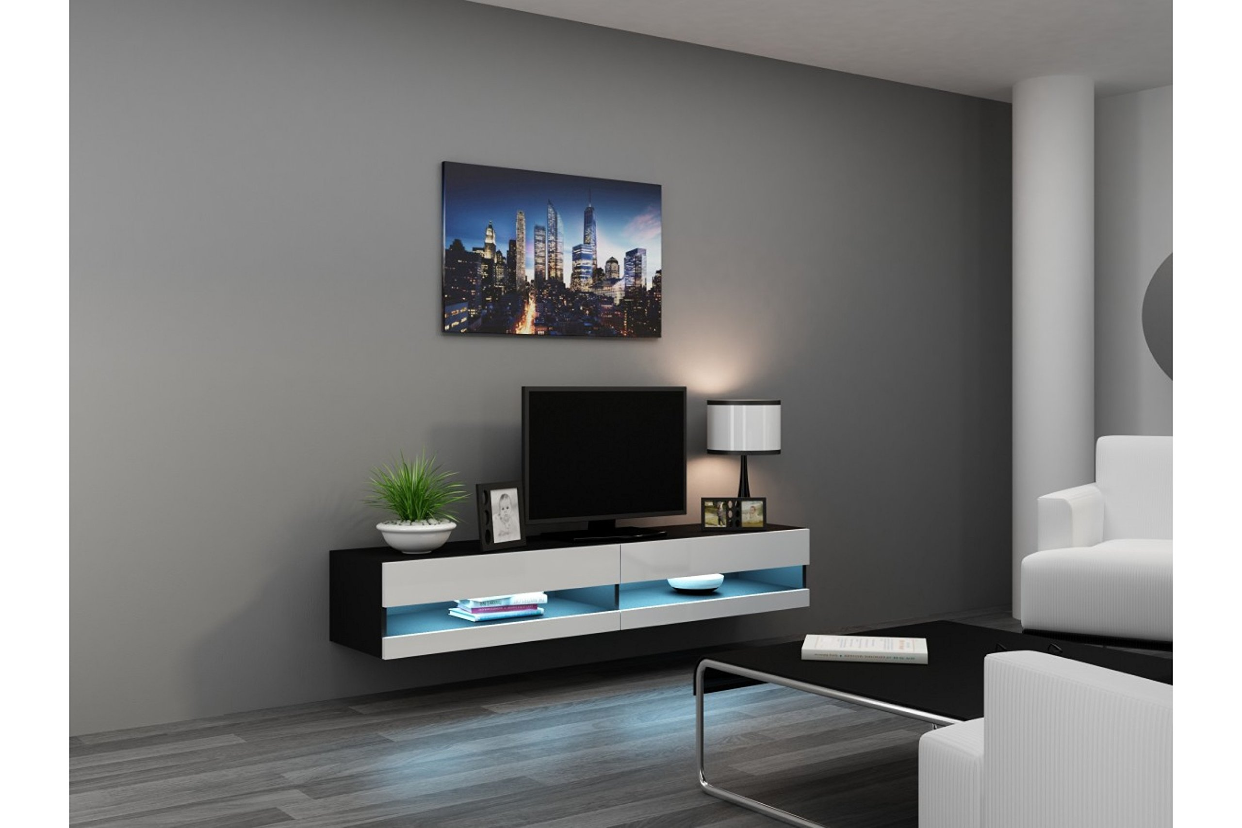 Concept Muebles 80 Inch Seattle High Gloss LED TV Stand - White & Black