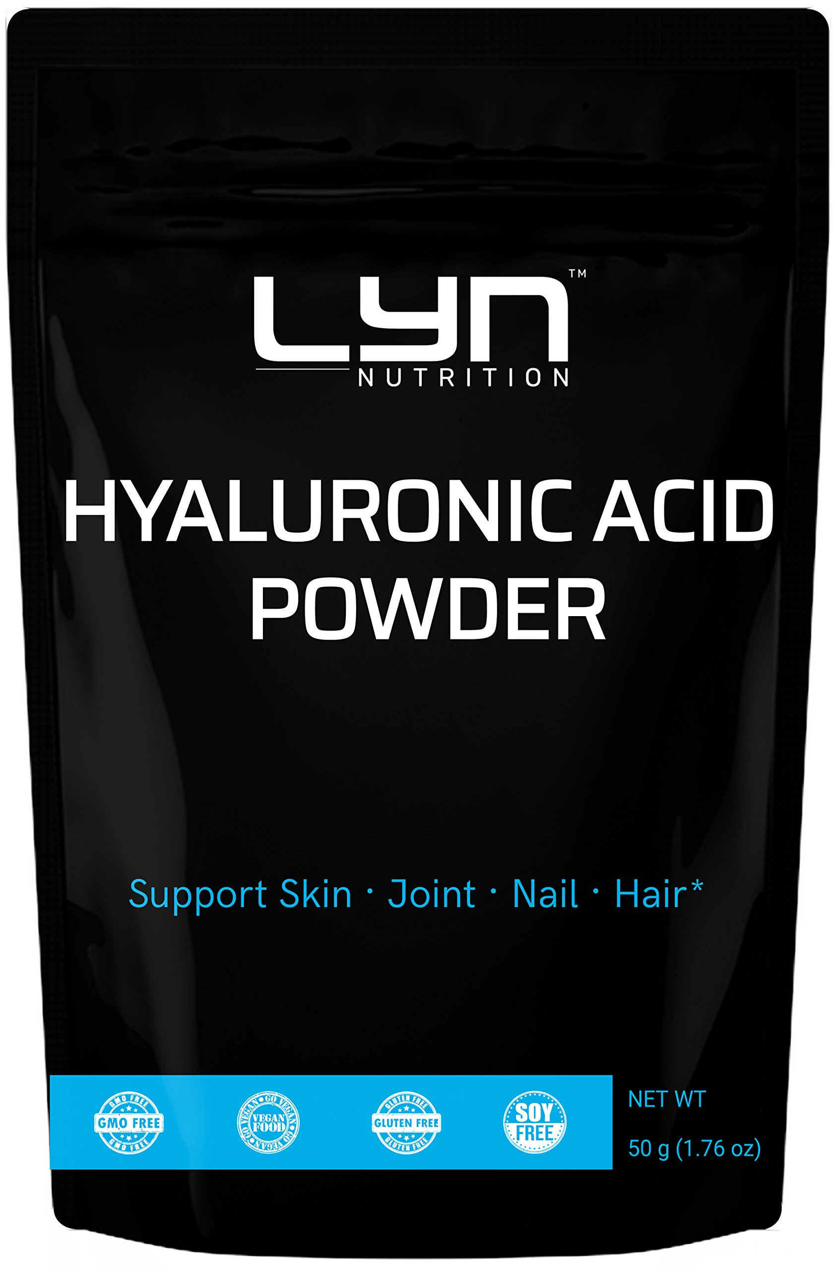 Premium Pure Natural Hyaluronic Acid Serum Powder, 50 grams, for Making Anti-Aging Serum, Internal Hydration, Joint Health Support, Vegan Friendly