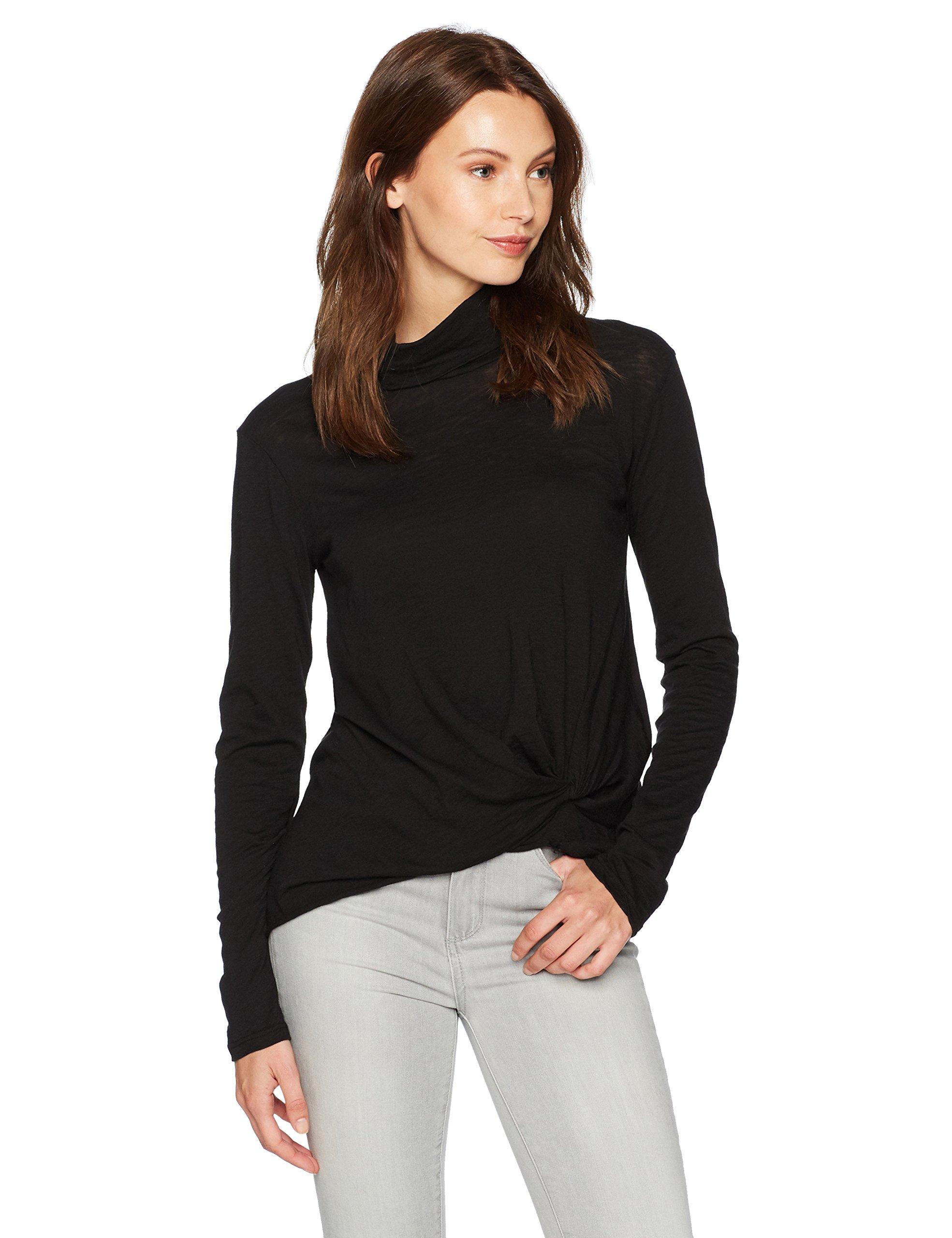 Stateside Women's Slub Jersey Long Sleeve Funnel Neck Top, Black, Large