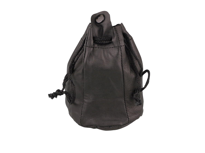 ZUGBEUTEL TABAKBEUTEL Leder schwarz groß mit Kautschukfutter Lederbeutel