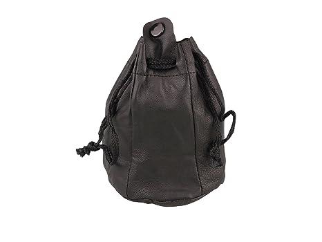 4fbfdb600705a ZUGBEUTEL TABAKBEUTEL Leder schwarz groß mit Kautschukfutter Lederbeutel