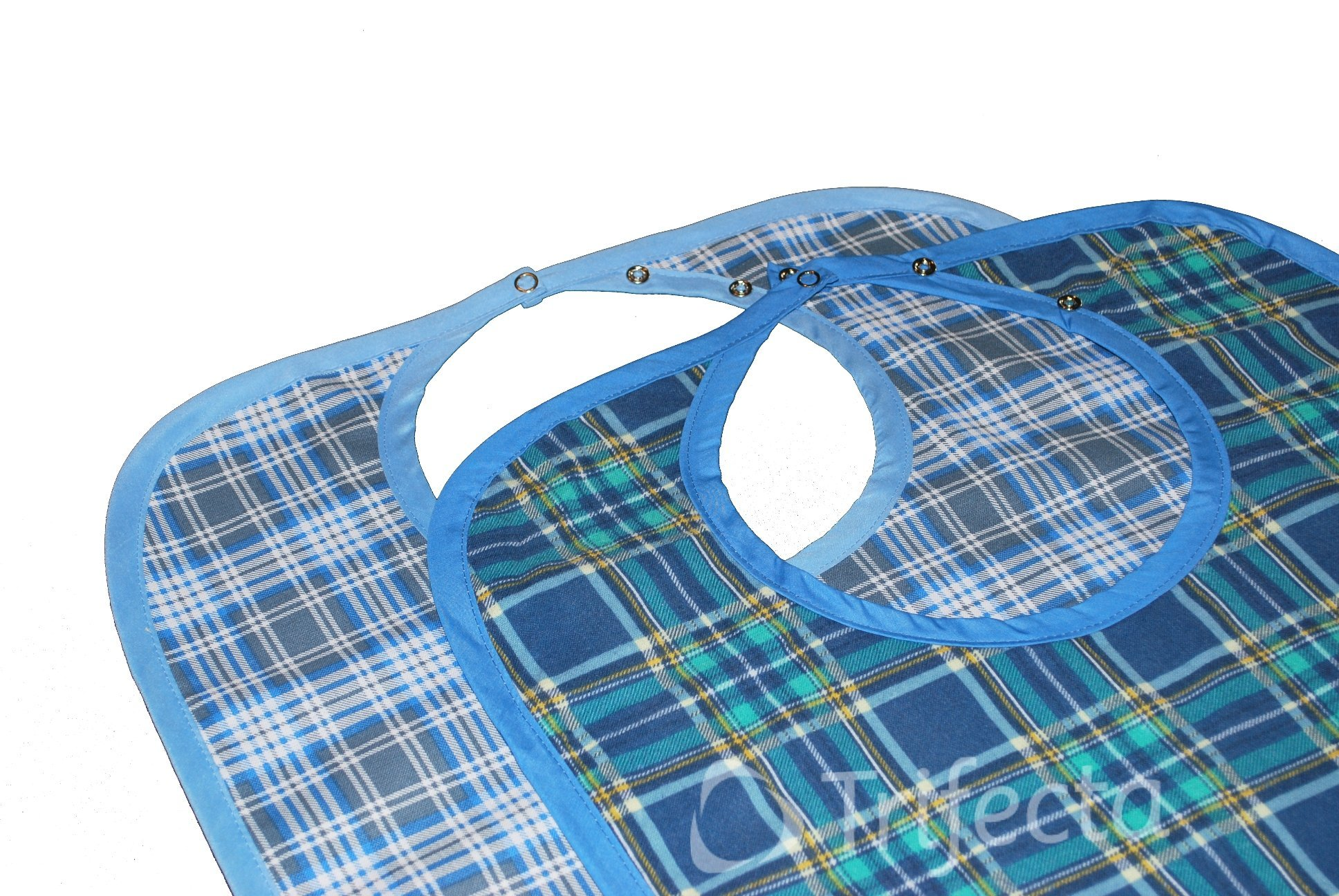 Large Extra Long, Washable Clothing Spill, Mealtime Protector, Waterproof Ladies & Men Adult Sized Bib (Pk/2)