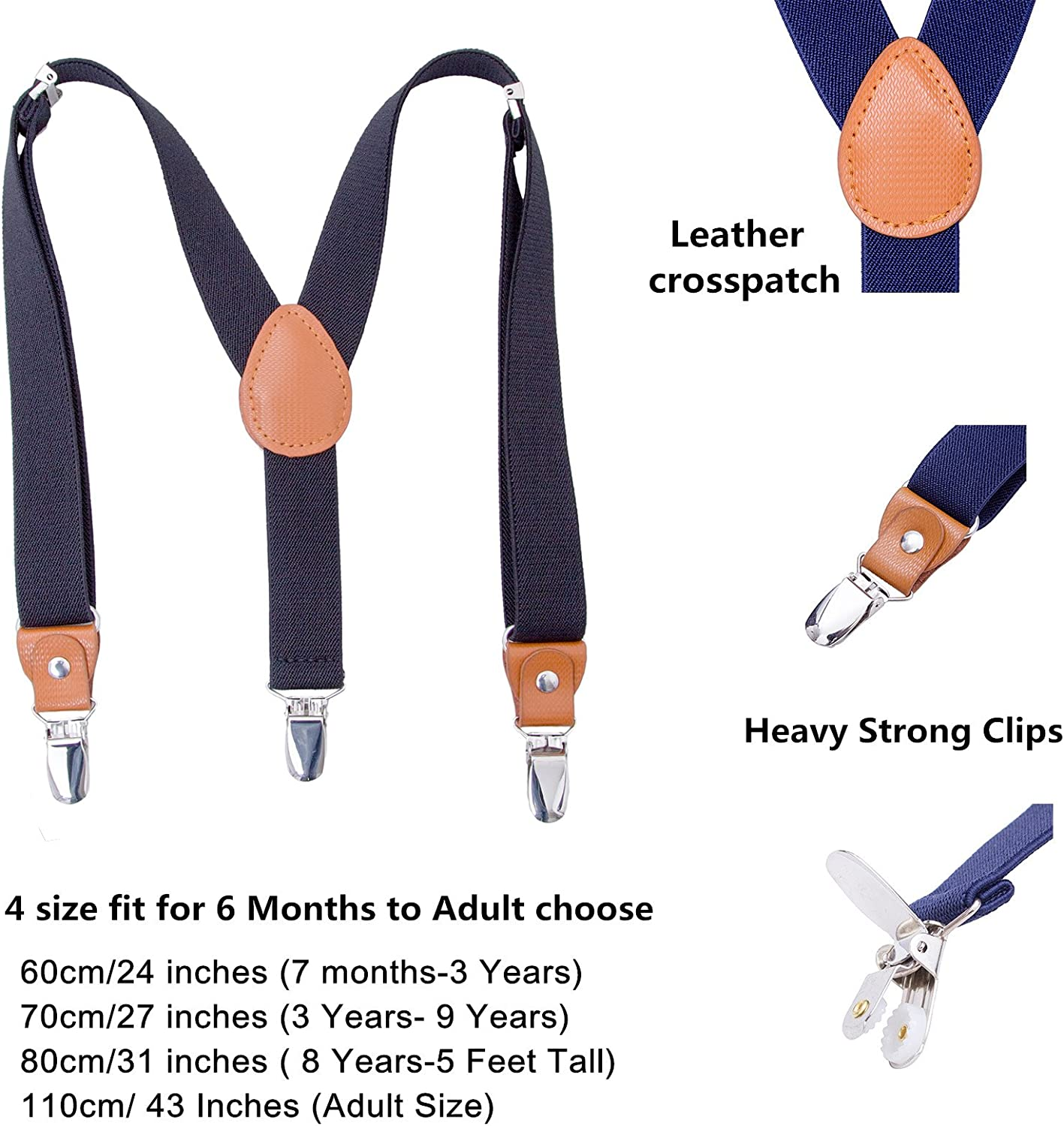 Children Boys Kids Adults Suspenders Sturdy Metal Clips Genuine Leather Suspender 8 Years - 5 Feet Tall Navy blue, 31 Inches