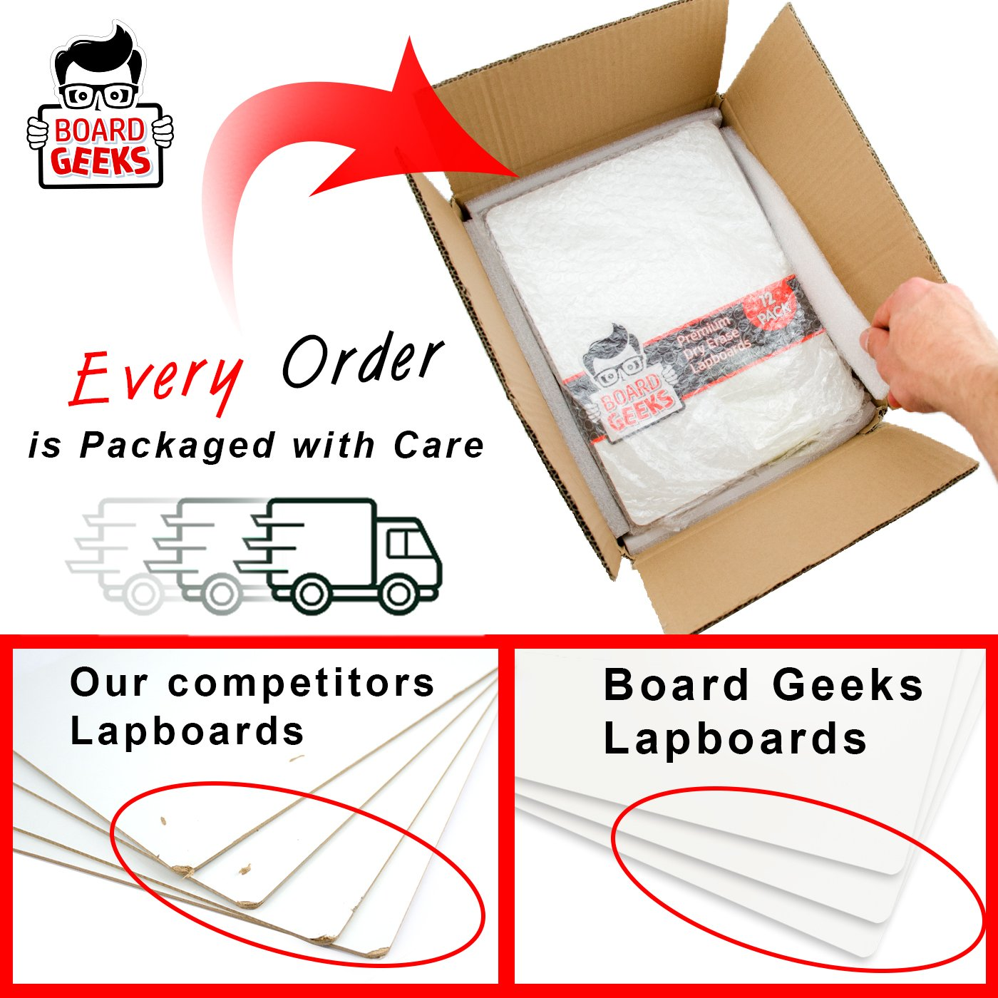 Dry Erase Lapboards | 9 x 12 inch Large Whiteboard | Pack of 25 White Board Set | Great for Teachers, Students, Children, Classroom | Reusable, Durable, Portable, Single Sided Whiteboard (25 Pack) by Board Geeks (Image #5)