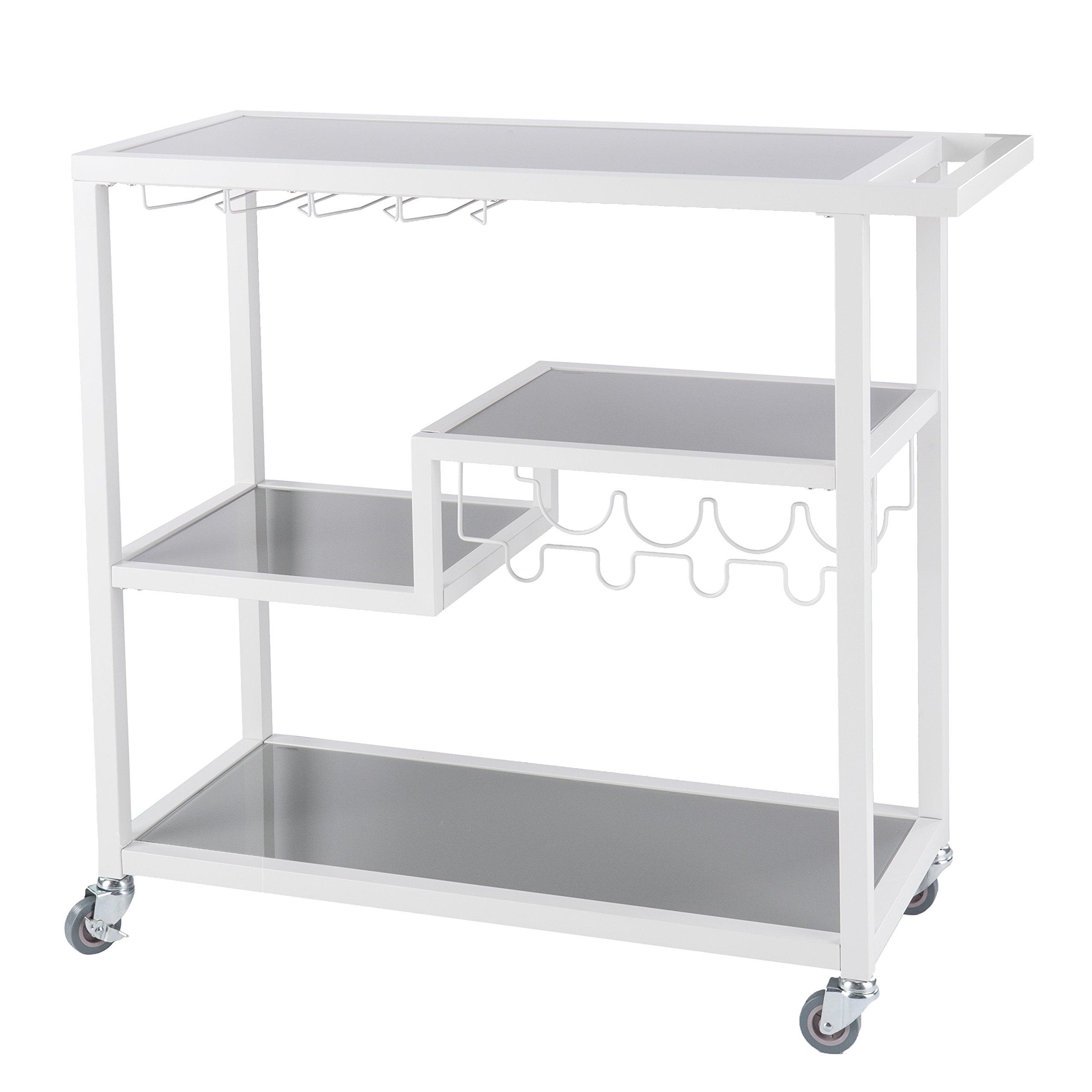 Southern Enterprises Zephs Rolling Bar Cart - Locking Castor Wheels - Smoky Gray Finish w/White Tempered Glass by Southern Enterprises