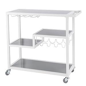 Southern Enterprises Zephs Rolling Bar Cart - Locking Castor Wheels - Smoky Gray Finish w/White Tempered Glass