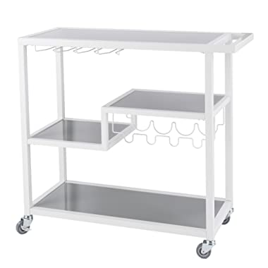 Southern Enterprises Zephs Rolling Bar Cart - Locking Castor Wheels - Smoky Gray Finish w/White Tempered Glass
