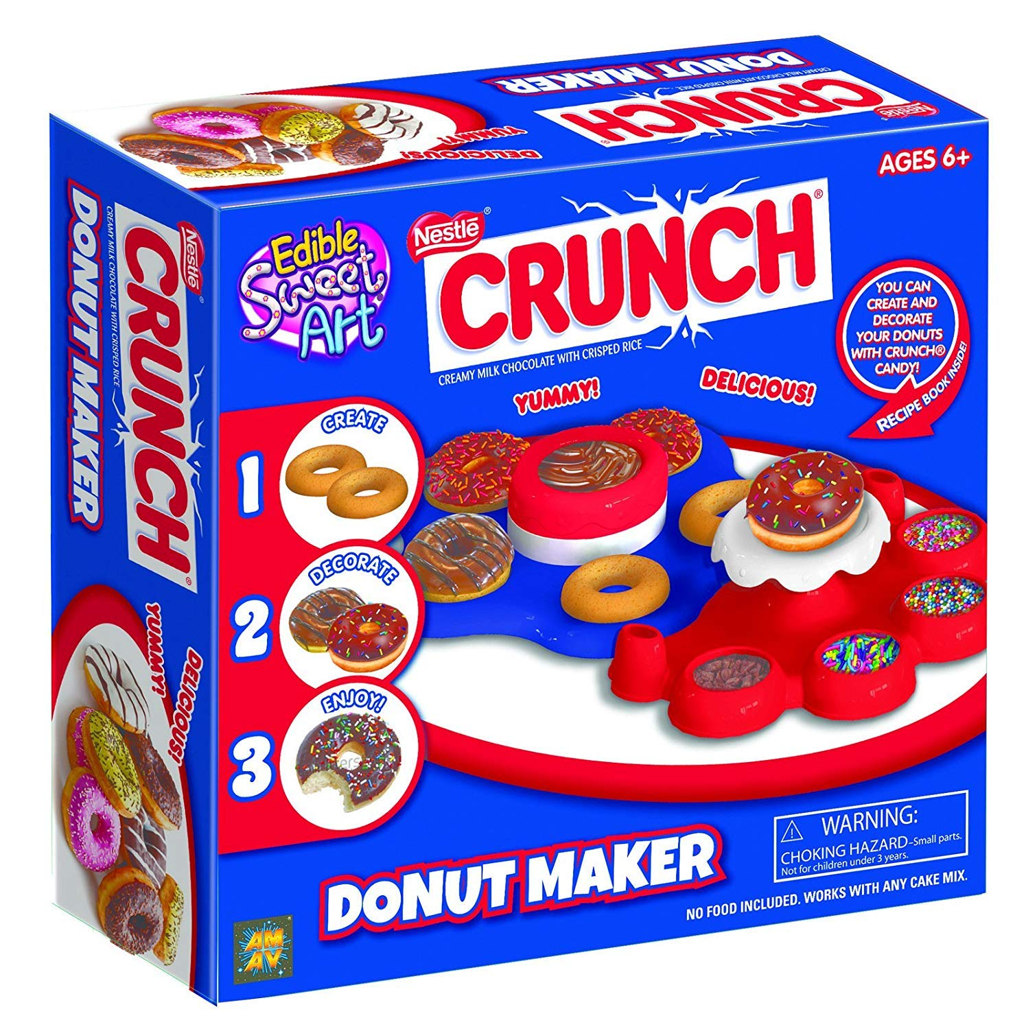 Crunch Donut Maker - Fun for Group Activity - Easy to Make & Fun To Decorate - Perfect Birthday Party Activity & Sleepovers - Great Present For Young Donuts Lovers - For Kids Aged 6+ by AMAV Toys