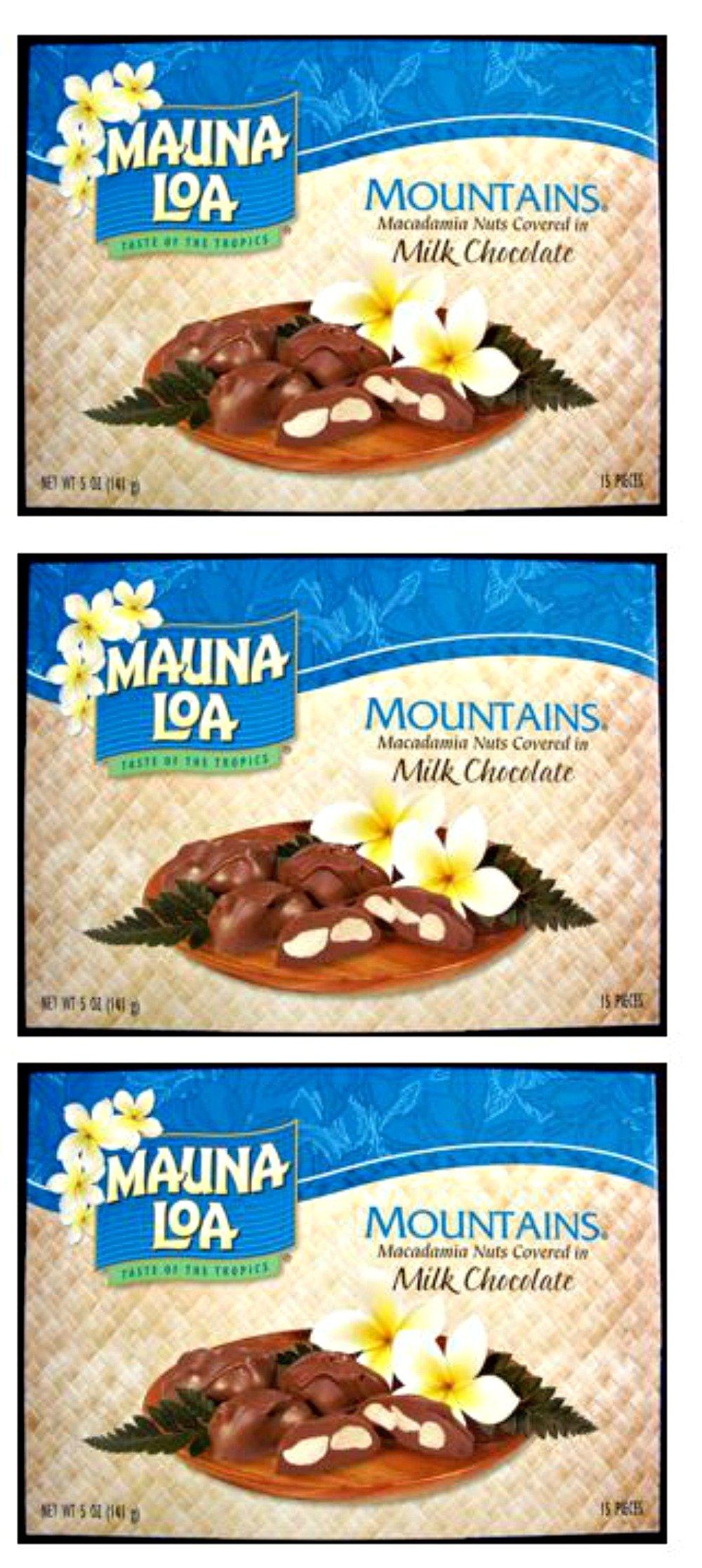 Multi Pack Mauna Loa Mountains Chocolate Covered Macadamia Nuts (3-5oz boxes) (3 Boxes-45 pieces) by Mauna Loa