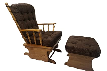 Solid Oak Glider Rocker Chair W/ Ottoman W/ U0026quot;Coffee Brownu0026quot; ...