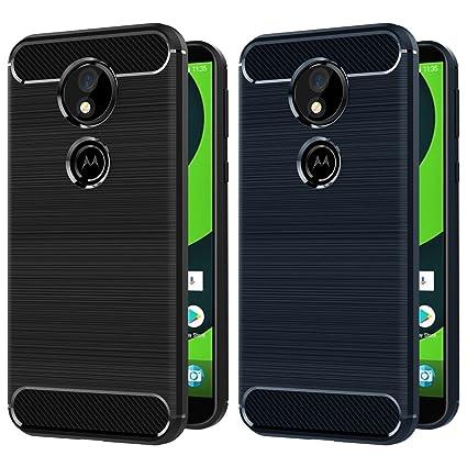 ivoler [Pack de 2] Coque pour Motorola Moto G6 Play/Motorola Moto E5, Silicone en Gel Souple Housse Etui Fibre de Carbone Coque de Protection - (Noir +Bleu)