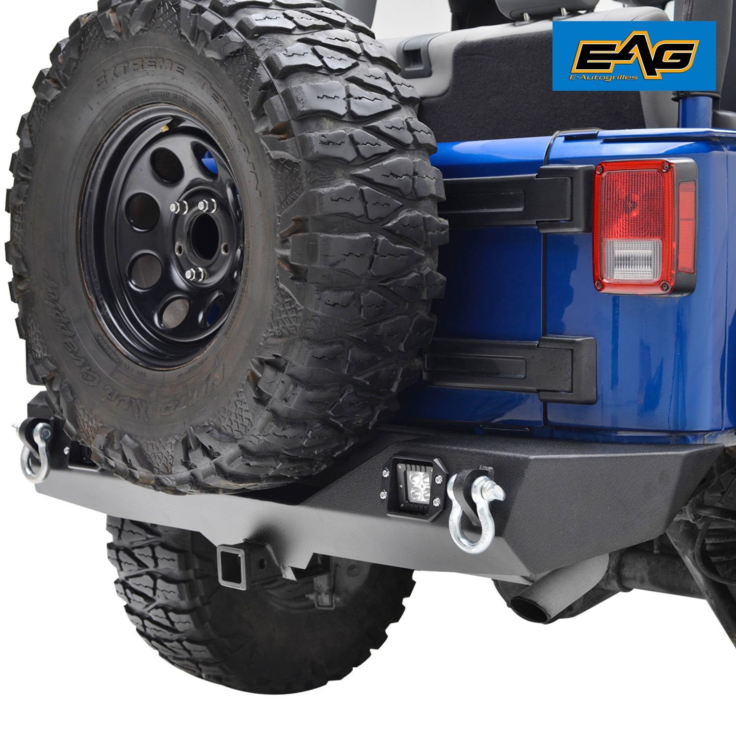 "Amazon.com: EAG Rear Bumper With Two Square LED Lights & 2"" Hitch Receiver  for 07-18 Jeep Wrangler JK: Automotive"