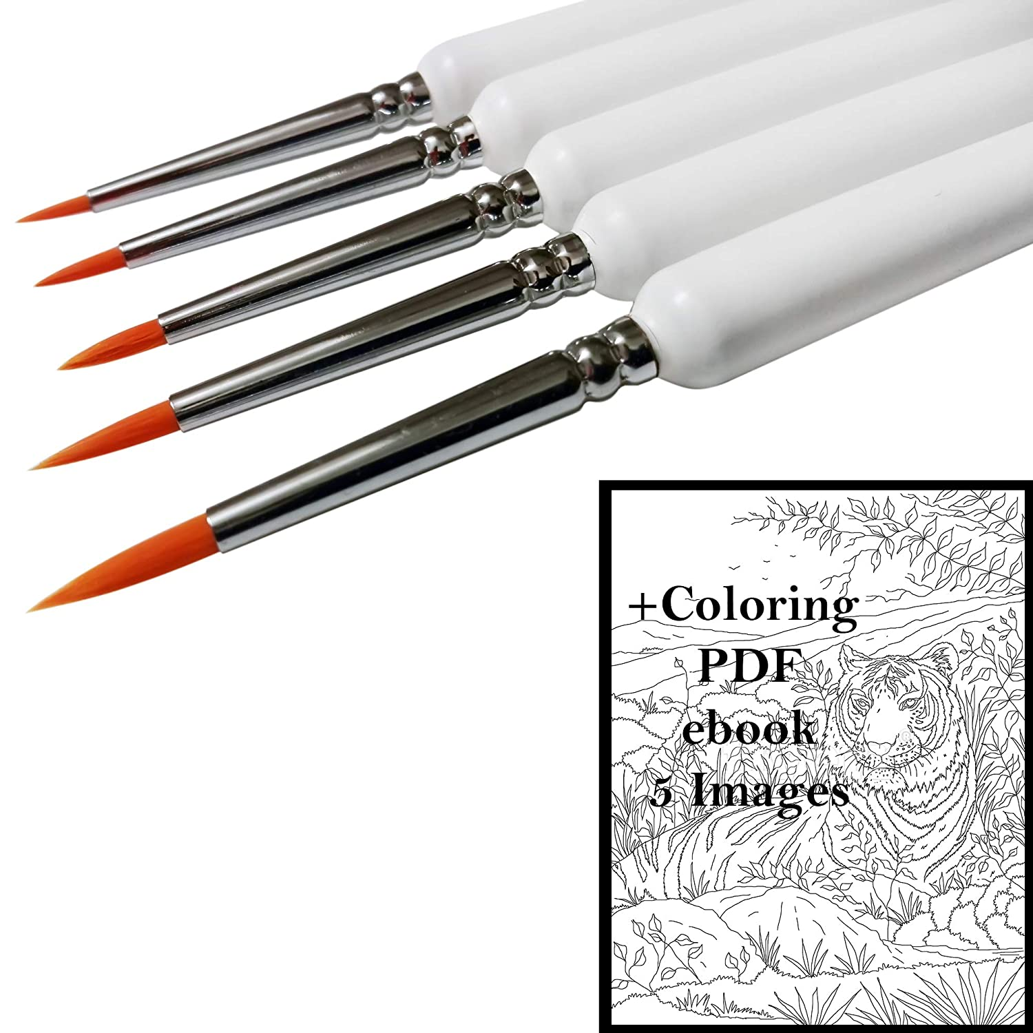 Fine Tip Detail Paint Brush Set, Best for Detailing with Acrylic, Watercolor, Oil, Miniature and Rock Painting, Nail Art, Nylon Brushes, Ergonomic Wooden Handles for Ultimate Precision + Coloring PDF Shine 4336964713