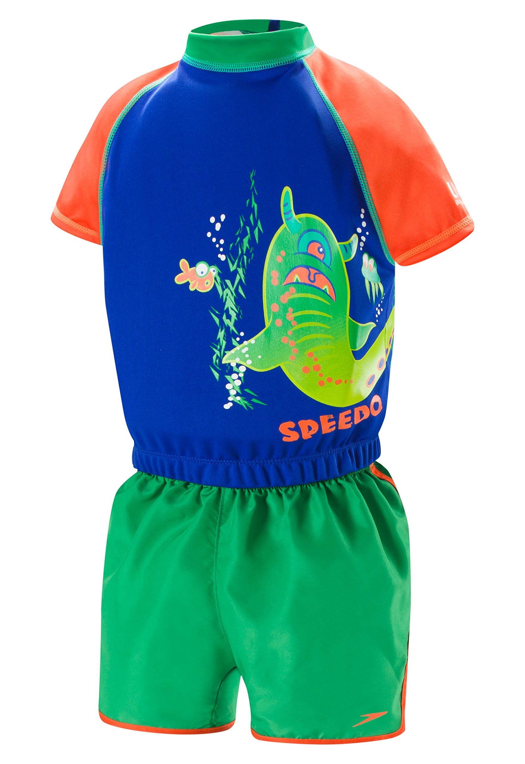 Speedo Kids UPF 50+ Begin to Swim Polywog Swimsuit, Blue/Orange, Medium