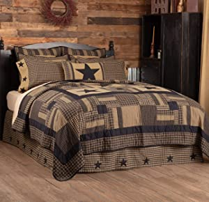 VHC Brands Check Star Queen Quilt, 90Wx90L, Black and Tan