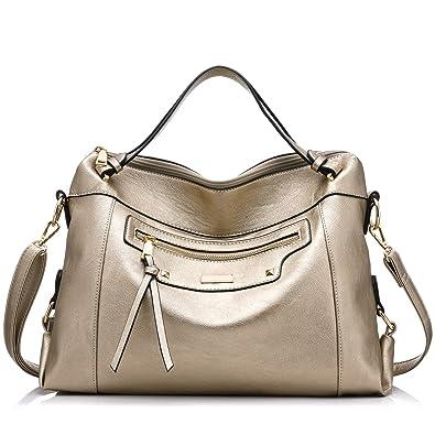 abff1efda4 Realer Large Capacity PU Leather Handbag for Women Office Shoulder Bag  Golden