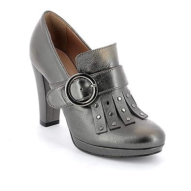 ALESYA by Scarpe&Scarpe - Mocasines Altos con Flecos y Tachuelas, de Piel, con Tacones 10 cm: Amazon.es: Zapatos y complementos
