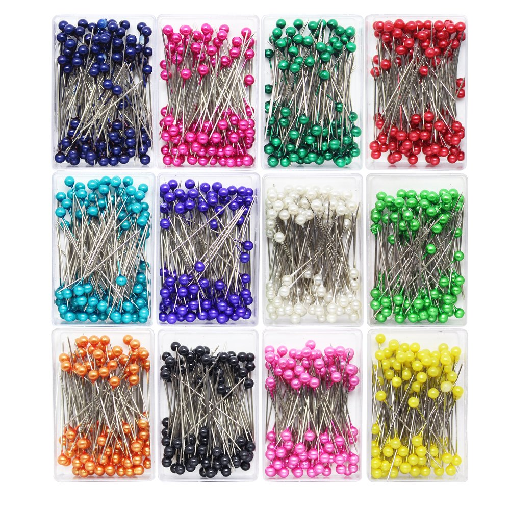 Dreamtop 1200pcs 36 mm Sewing Pins Pearlized Head Pins for Sewing Dressmaking Jewelry Components Floral Decoration, 12 Colors 4337010394