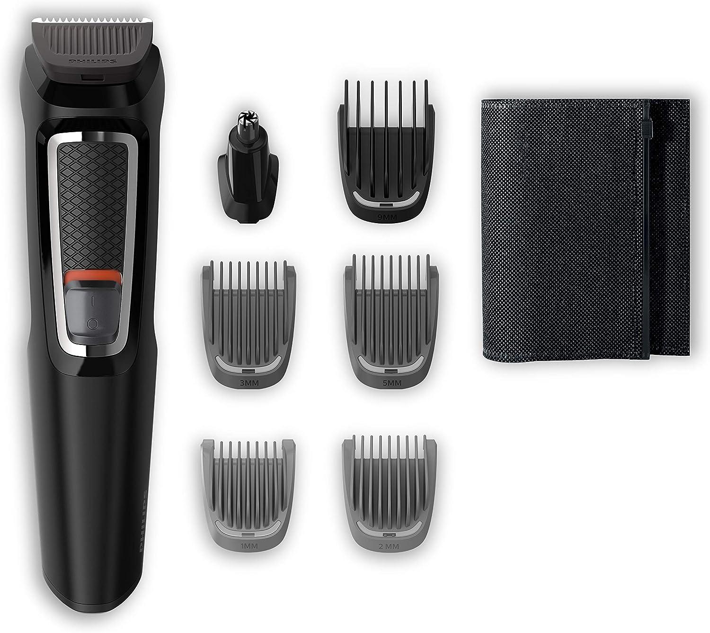 Philips MG3720/15 Recortadora para barba y pelo,  7 en 1, accesorios para nariz y orejas, cortapelos cara, y cabeza, 60 minutos de autonomía, Negro