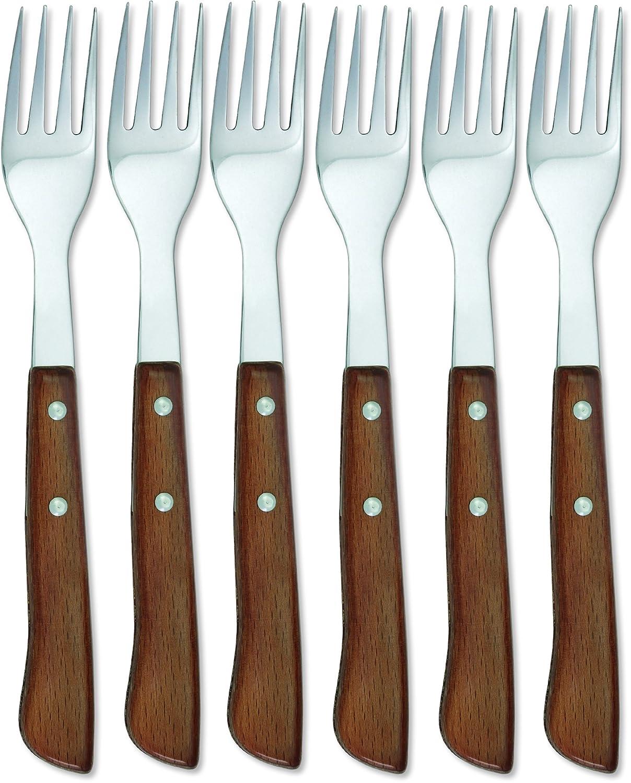 Sonpó Online - Modelo 6TCHM - Estuche de 6 tenedores chuleteros de mesa - Mango de madera comprimida y hoja de acero inoxidable.: Amazon.es: Hogar