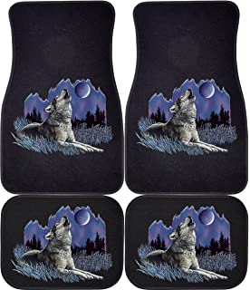 Wolf Howling At Moon Black Rears Car And Truck Front Rear Mats