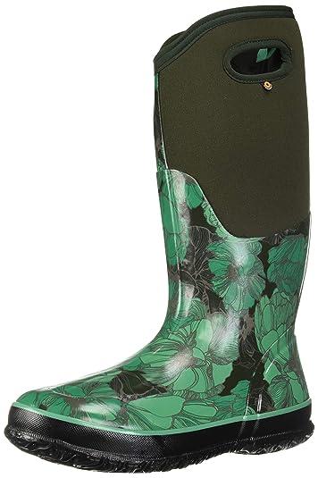 5b87b4b356c Bogs Women's Classic Printed Rubber Snow Boot, Tall Vintage Floral Dark  Green Multi, 10